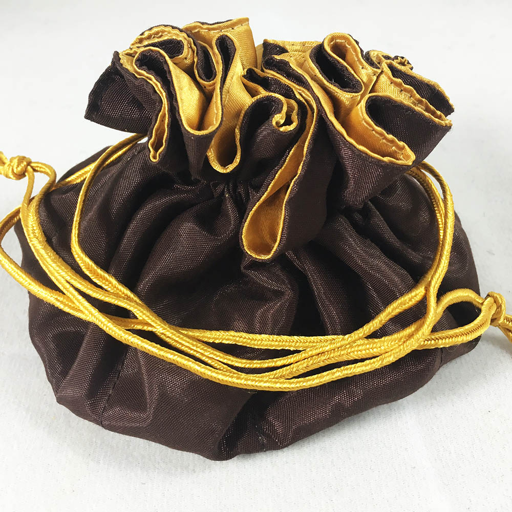 Chocolate Brown Amp Gold Silk Jewellery Pouch With Satin