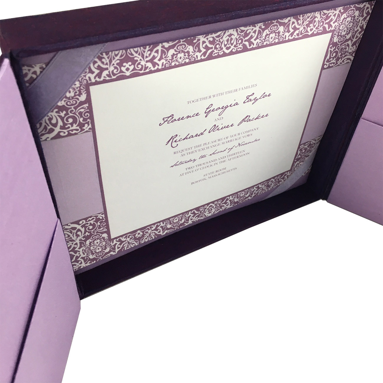 High End Elegant Wedding Invitations: Pearl Brooch & Sash Embellished Silk Card For Wedding