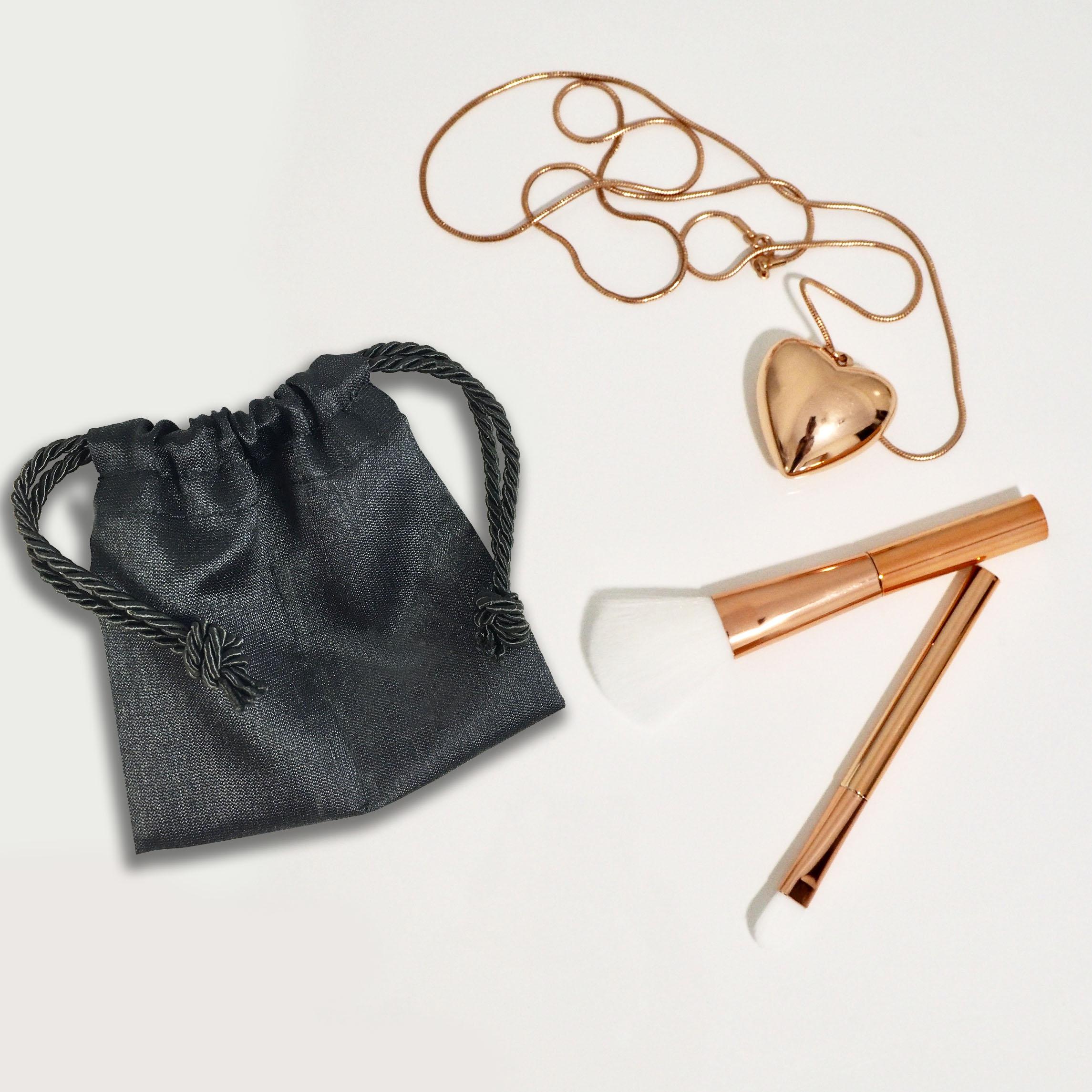 Black silk jewellery pouch