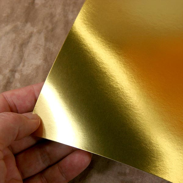 metallic gold material sample for mailing box
