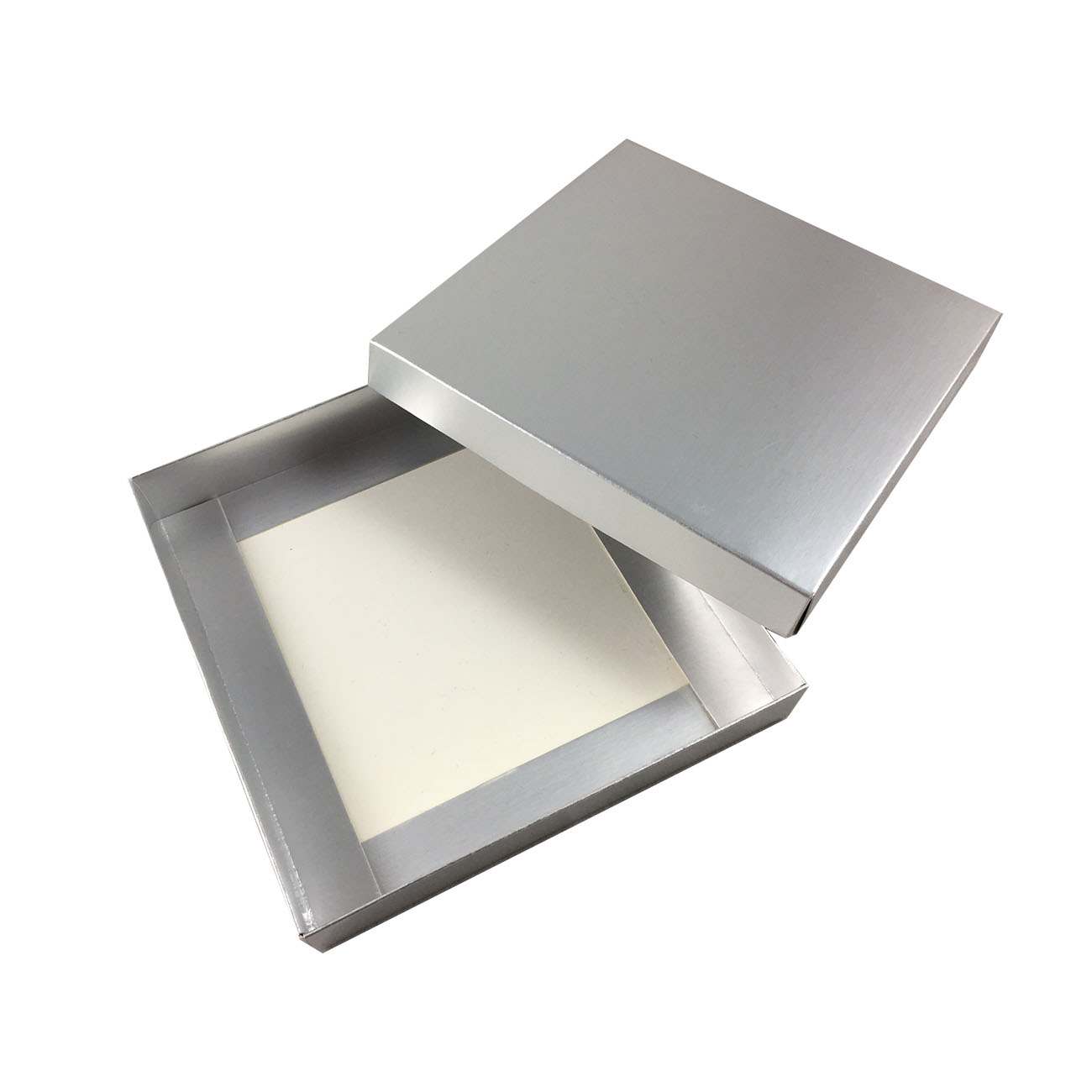 metallic silver mailing box