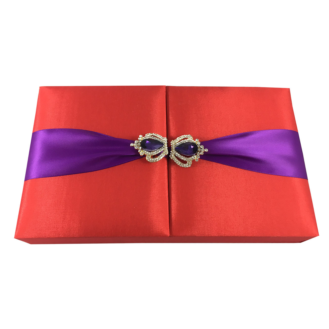 Luxury Chocolate Silk Invitation Box In Red & Purple Color - Luxury ...