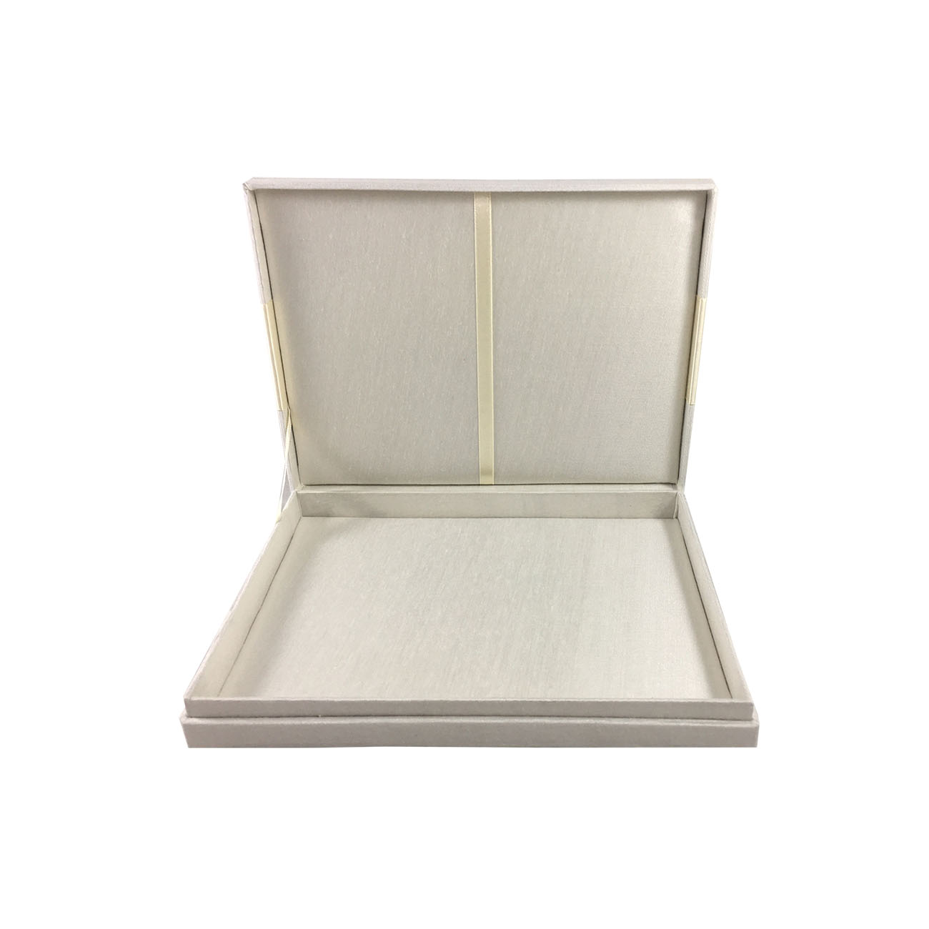 ivory boxed wedding invitation with hinged lid