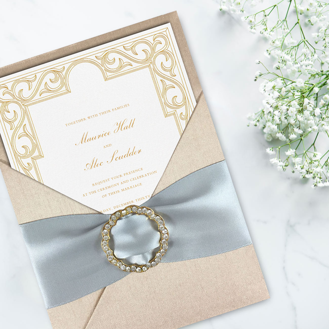 Luxury wedding invitation card design