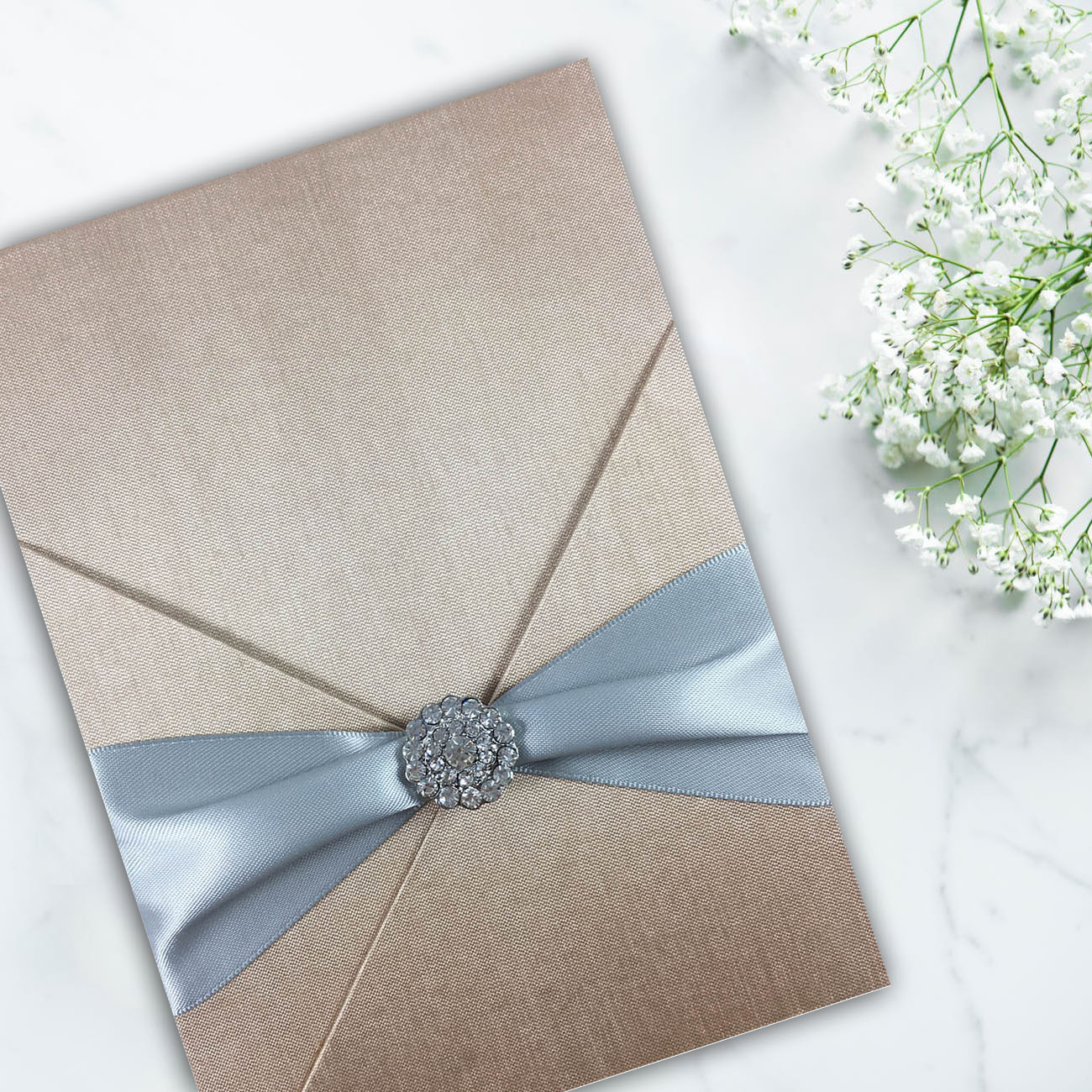 Silk card holder for luxury wedding and event invitation cards
