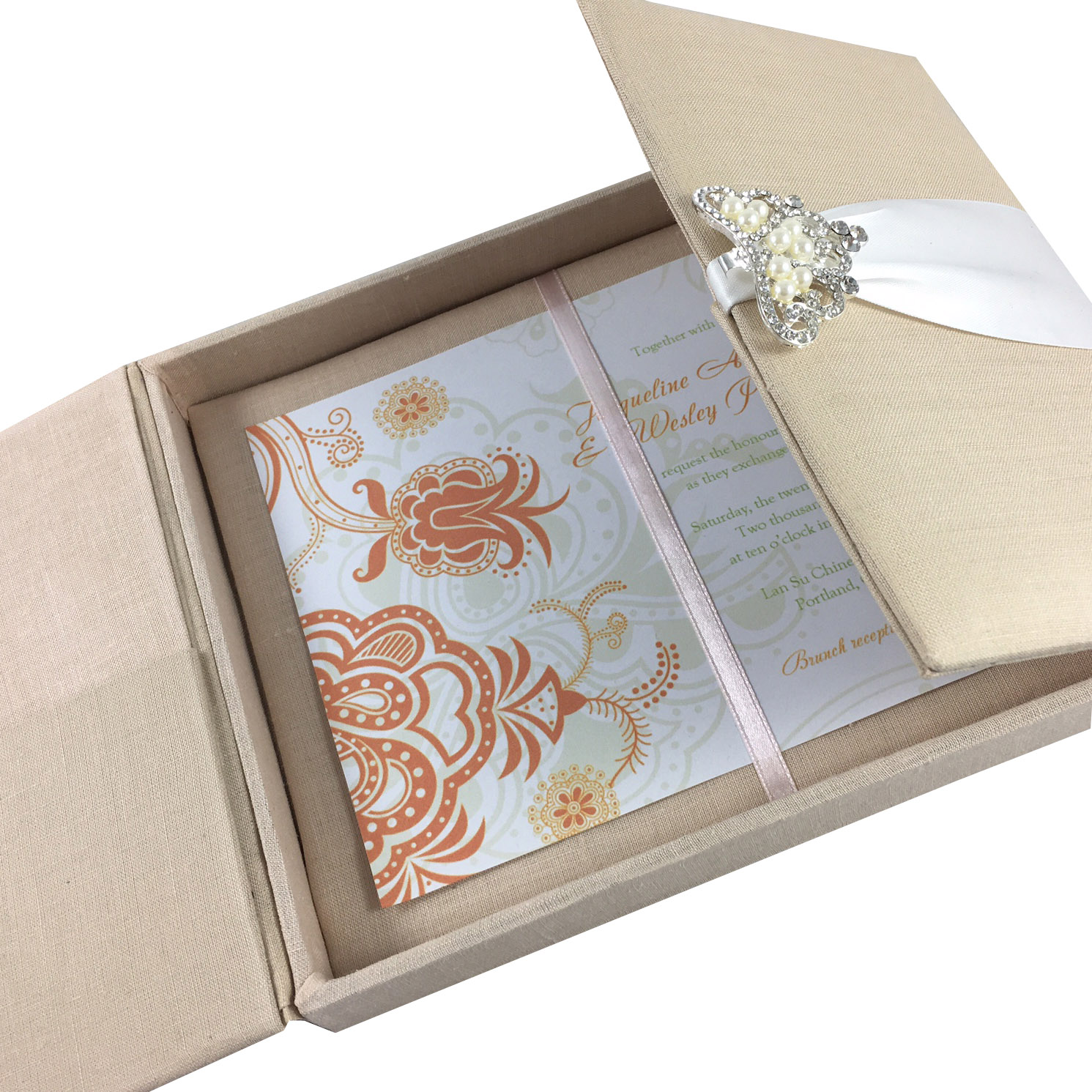 Wedding Card Holder.Large Hand Crafted Linen Box For Wedding Invitation Cards With Pocket Holder