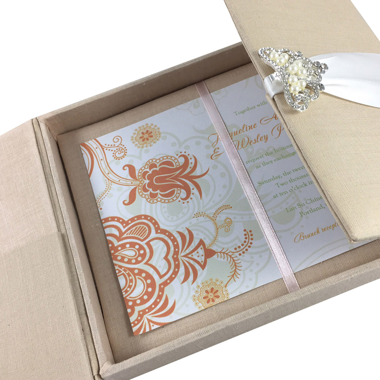 Large Hand-Crafted Linen Box For Wedding Invitation Cards With ...