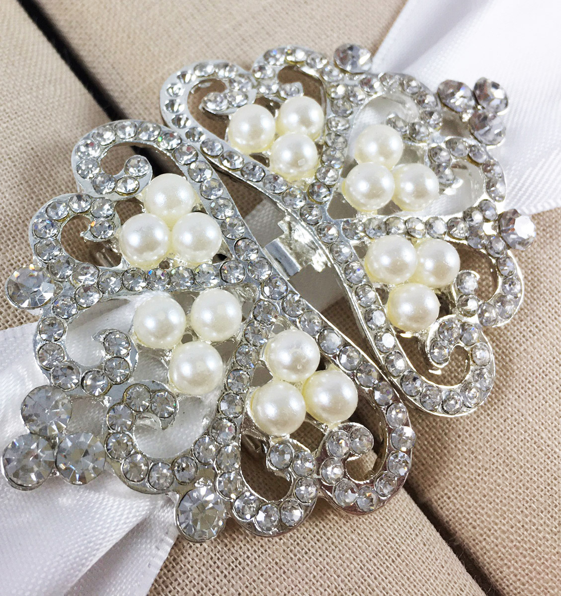 silver crown pearl clasp
