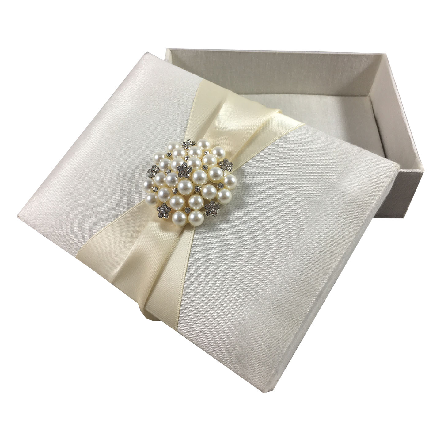 Beautiful Ivory Silk Gift Box With Large Pearl Brooch
