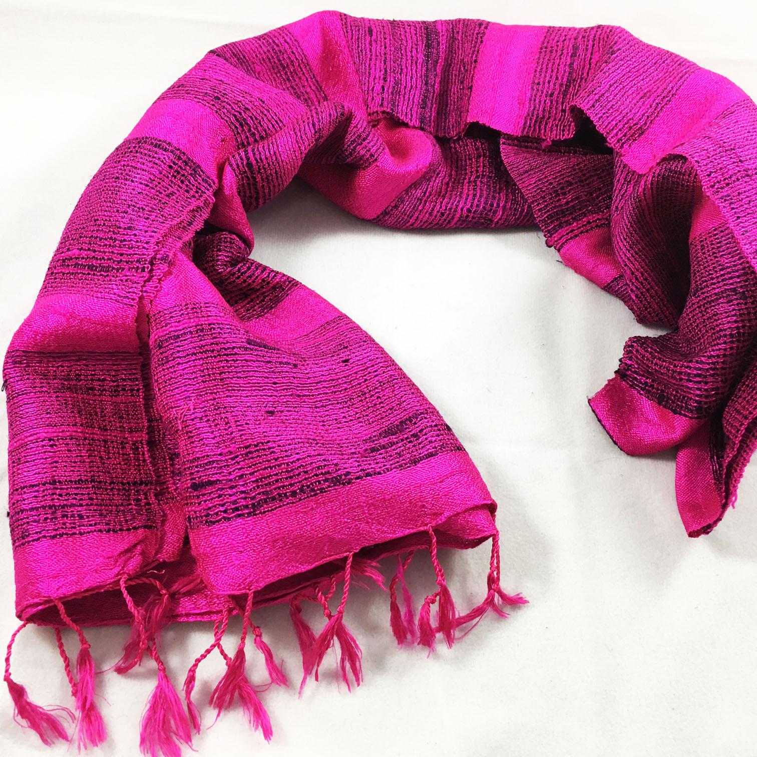 Deep Pink Silk Shawl