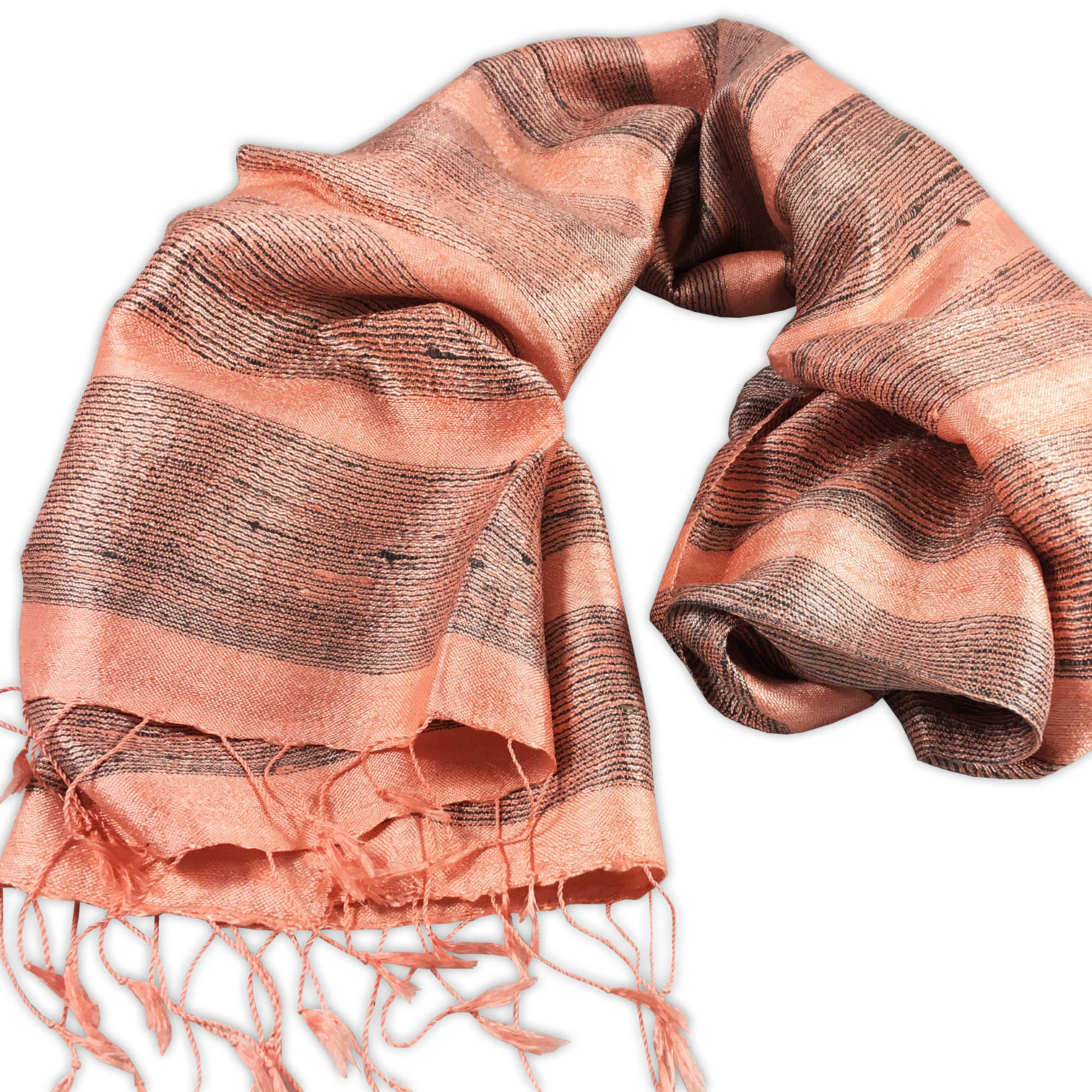 Handwoven silk shawl with stripes