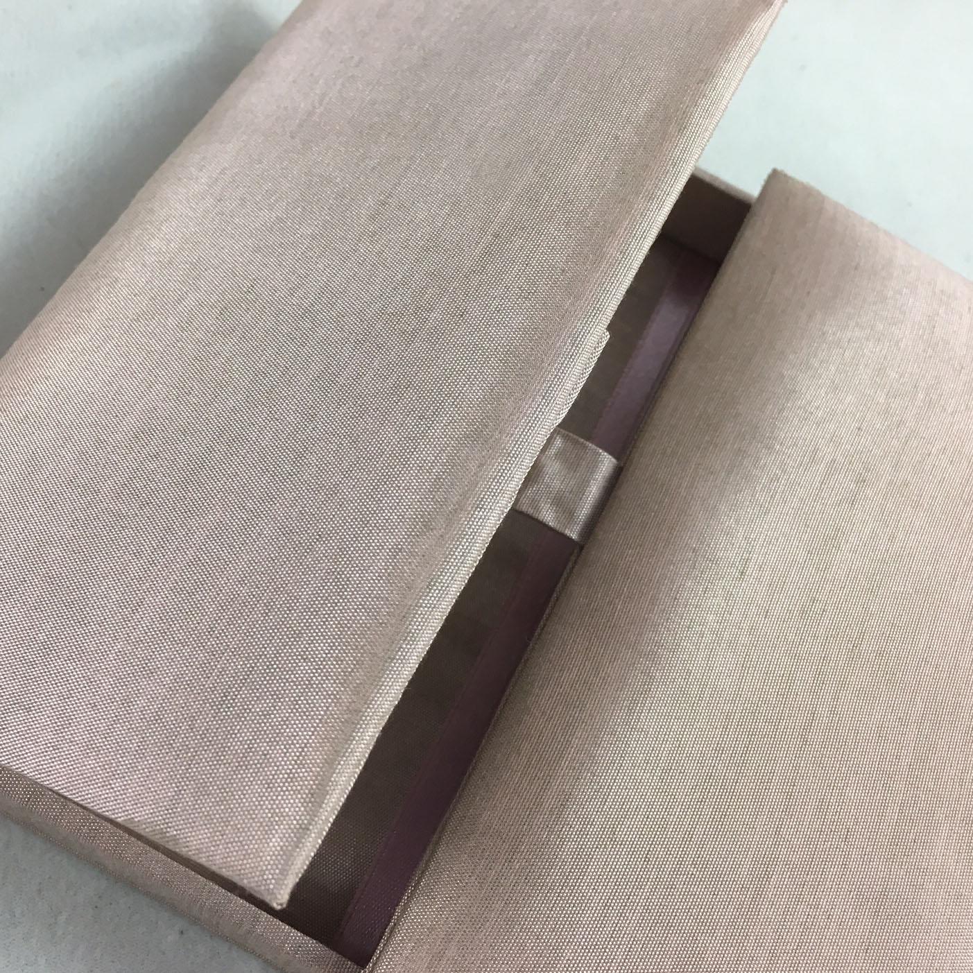 thai silk box in pale brown