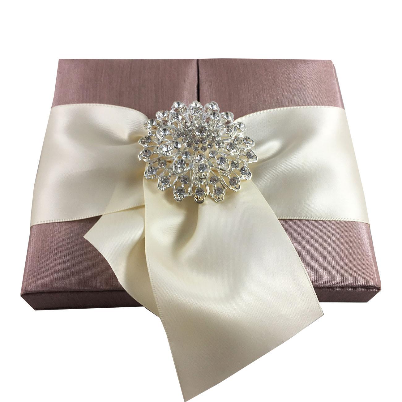 Pale Brown Wedding Box With Big Rhinestone Brooch - Luxury Wedding ...