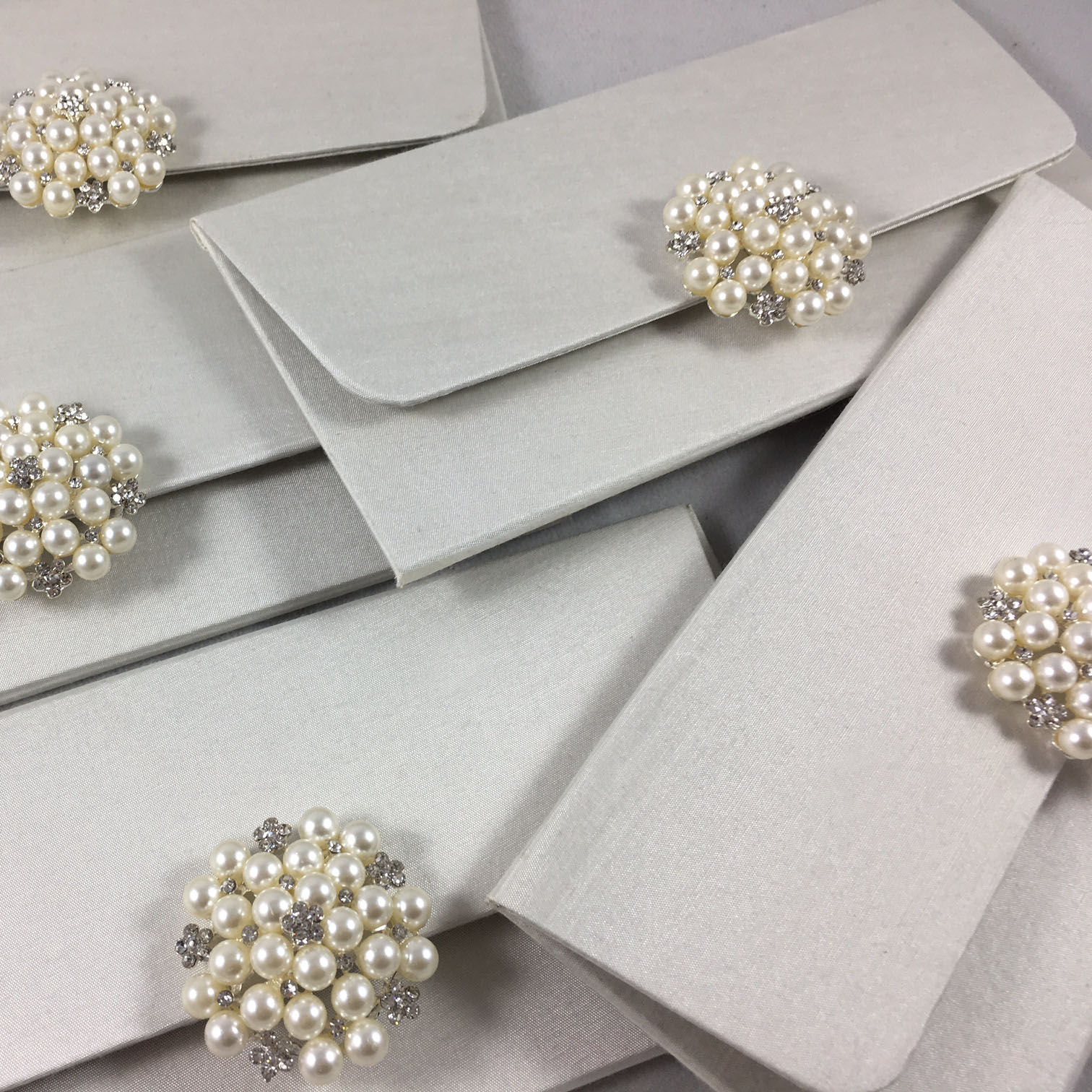 ivory pearl wedding envelope