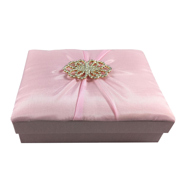 Pink silk gift box