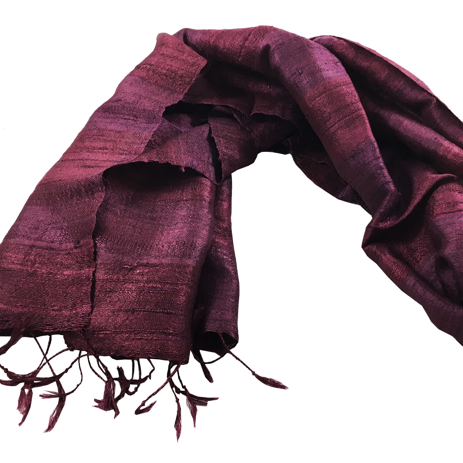 Maroon raw silk shawl from Thailand