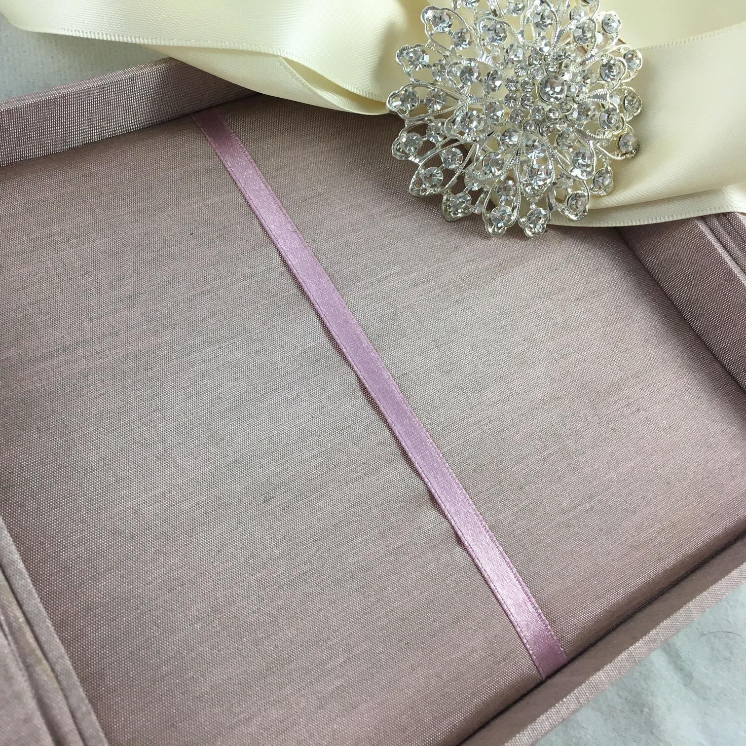 silk box with brooch