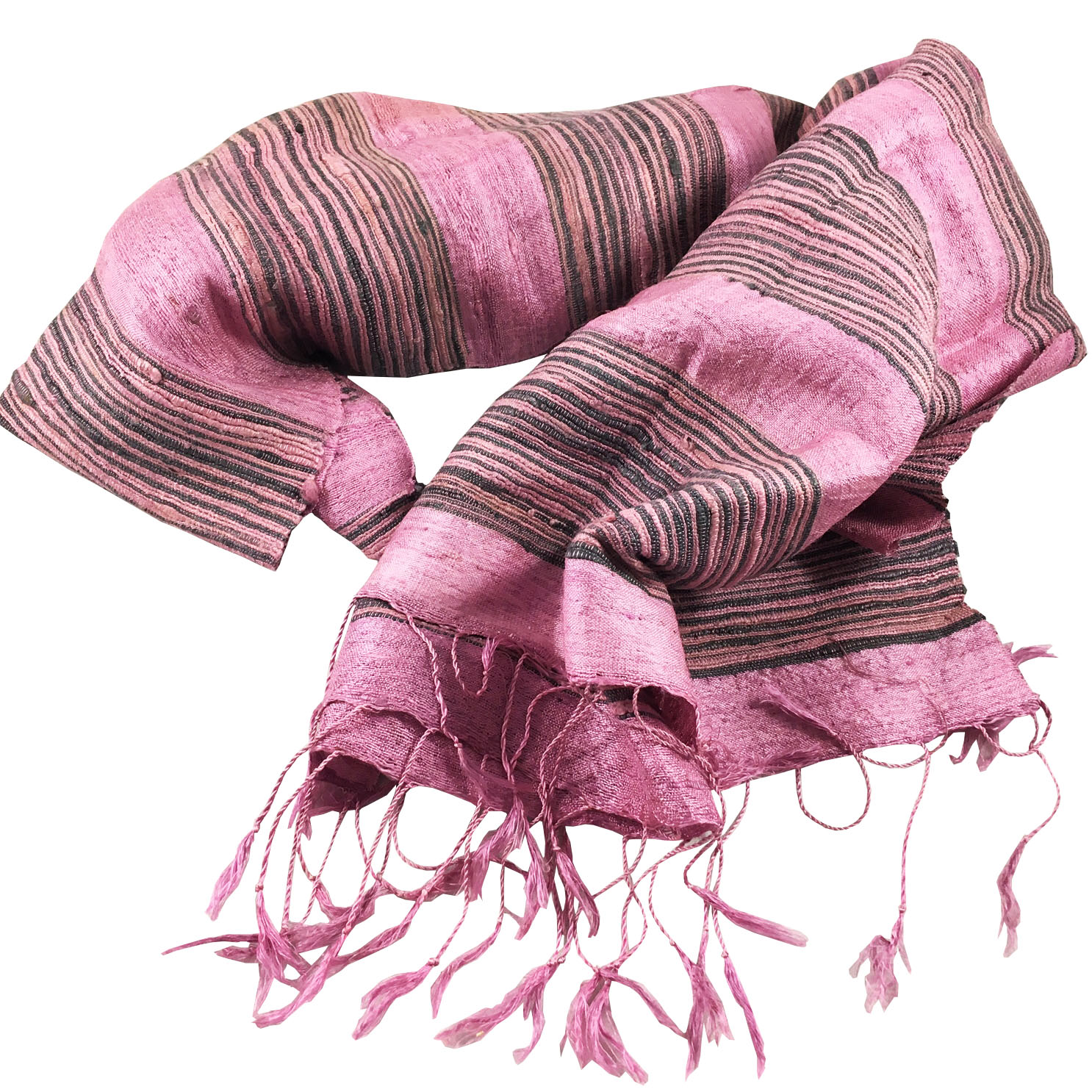 Thai Silk Scarf With Stripe Pattern Hand-Woven In Chiang Mai ...