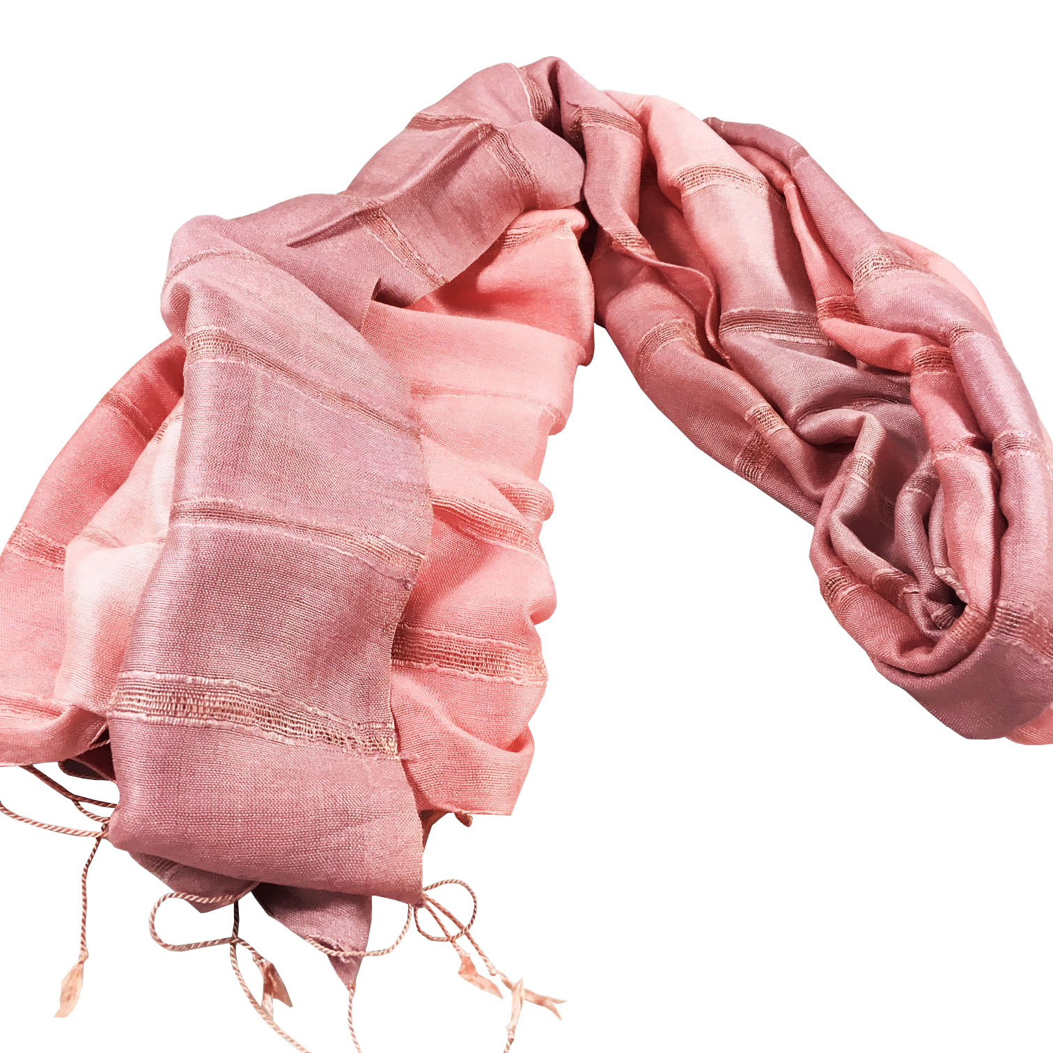 Blush pink Thai silk shawl with stripes