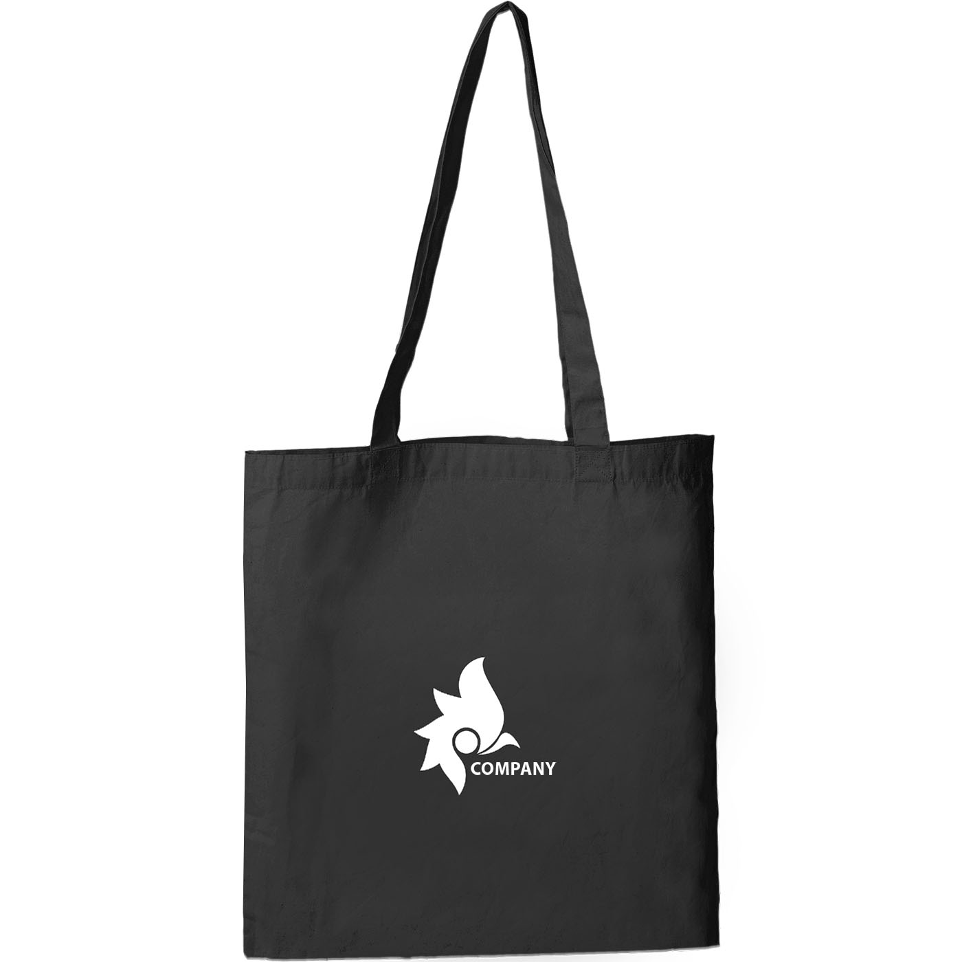 Black logo printed Thai cotton shopping bag