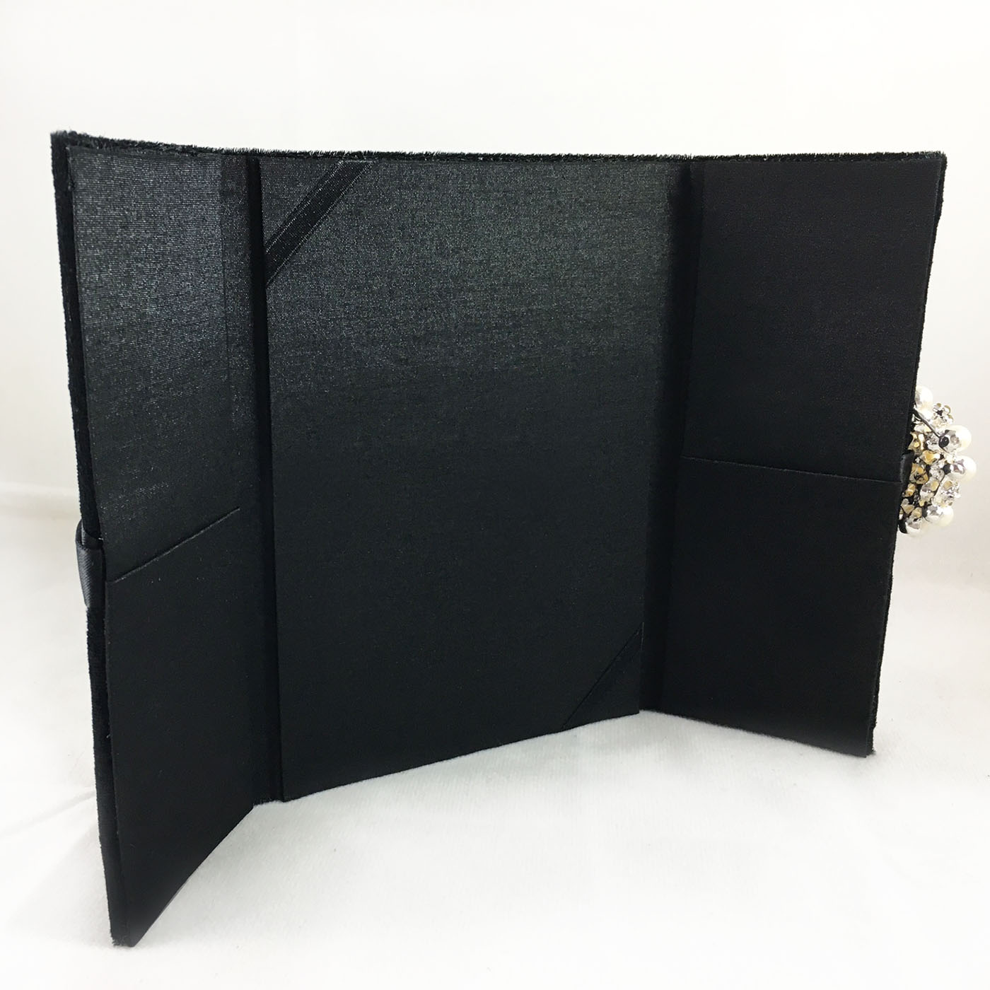 black velvet and silk invitation with pearl brooch embellishment