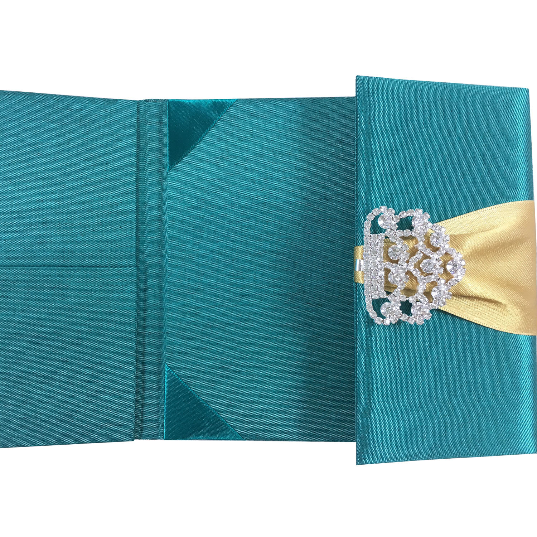 Emerald green silk wedding invitation folder