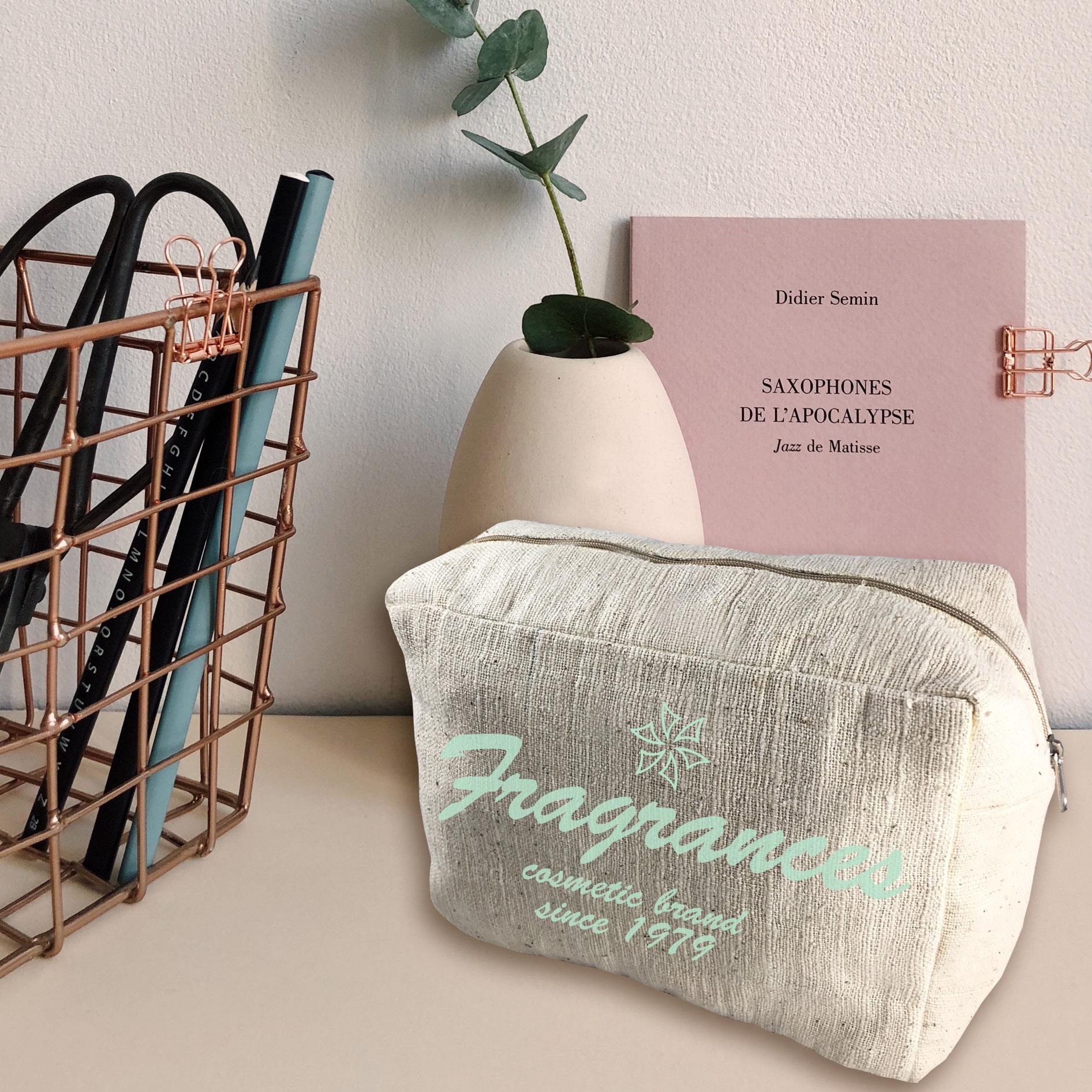 Logo printed hemp cosmetic bags