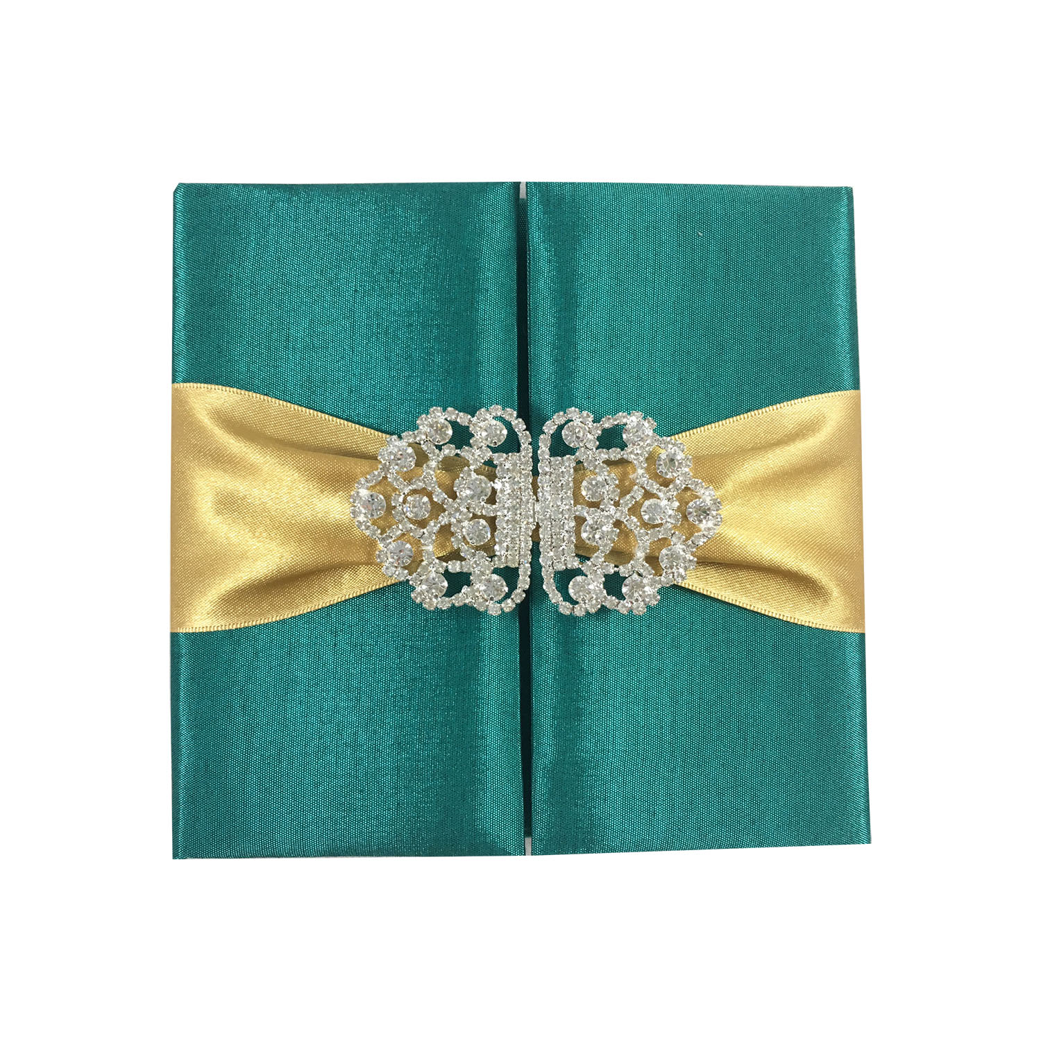 luxury emerald green silk folder for invitation cards