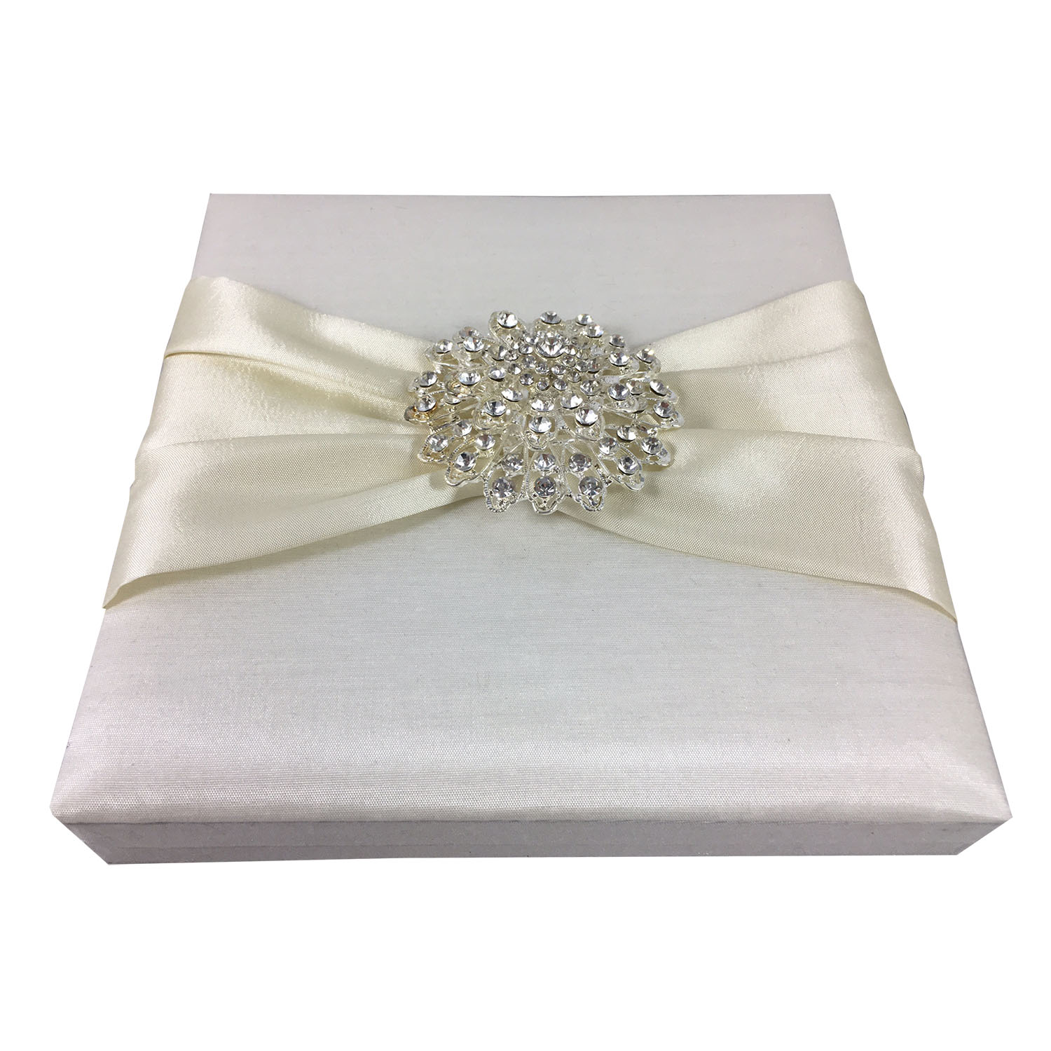 ivory boxed wedding invitation with large crystal flower brooch