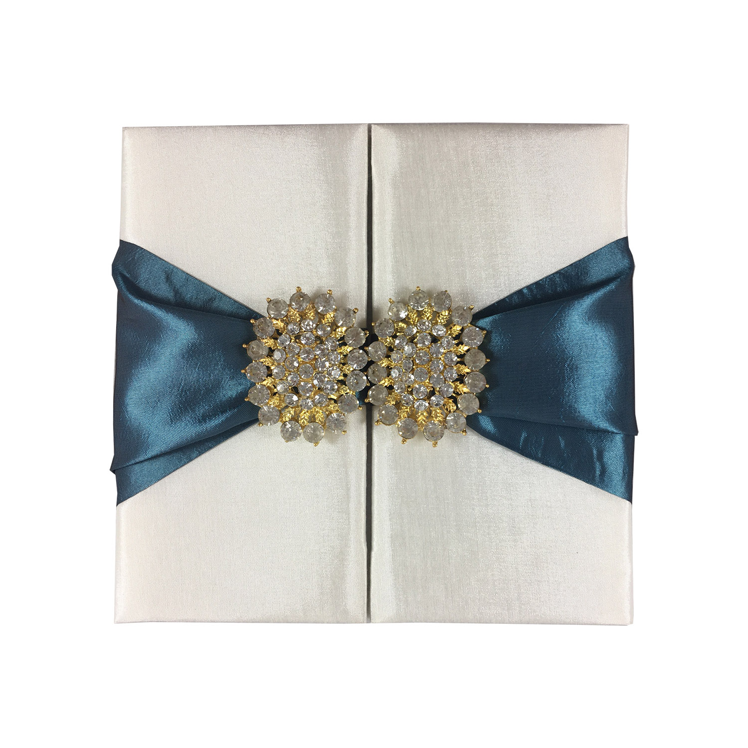 Ivory and teal luxury wedding invitation folder with brooch
