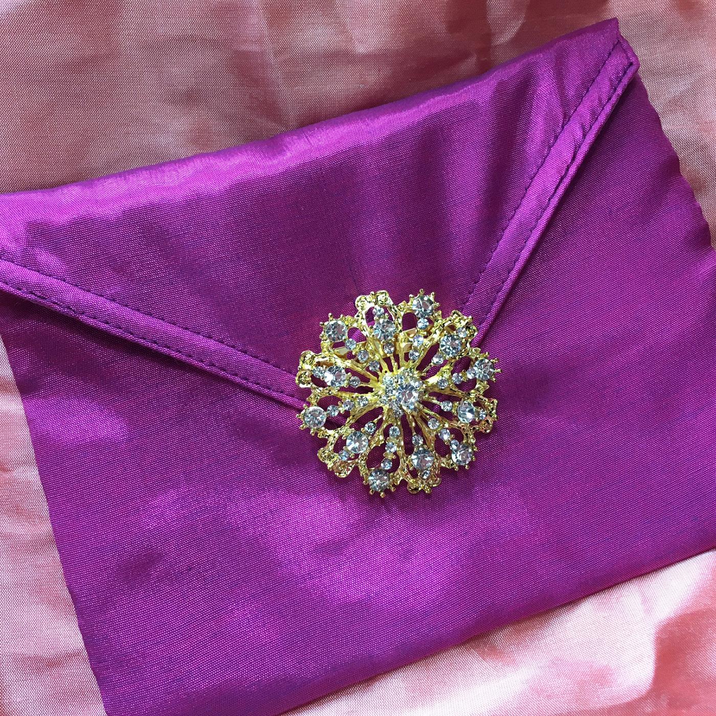 Purple silk envelope for luxury wedding invitation cards