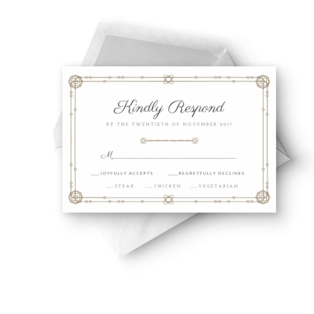 luxury rsvp wedding invitation cards