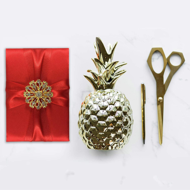 Red Silk Folder With Golden Rhinestone Brooch Embellishment - Luxury ...