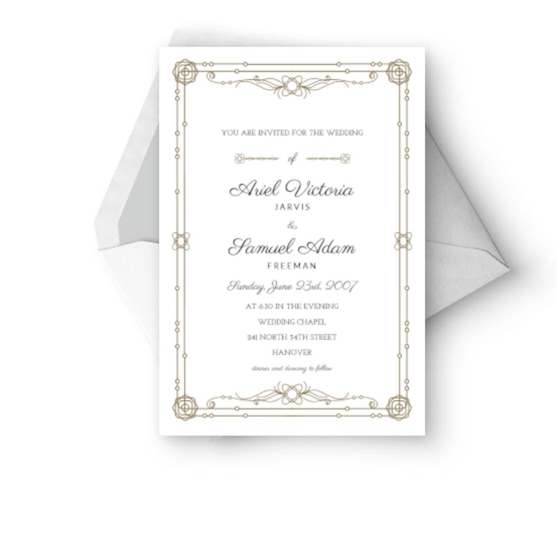 Classic border wedding invitation card