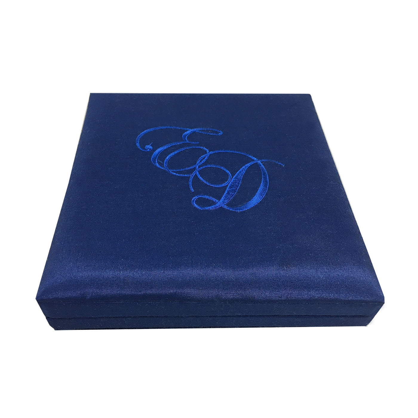 Royal blue silk wedding box with monogram embroidery