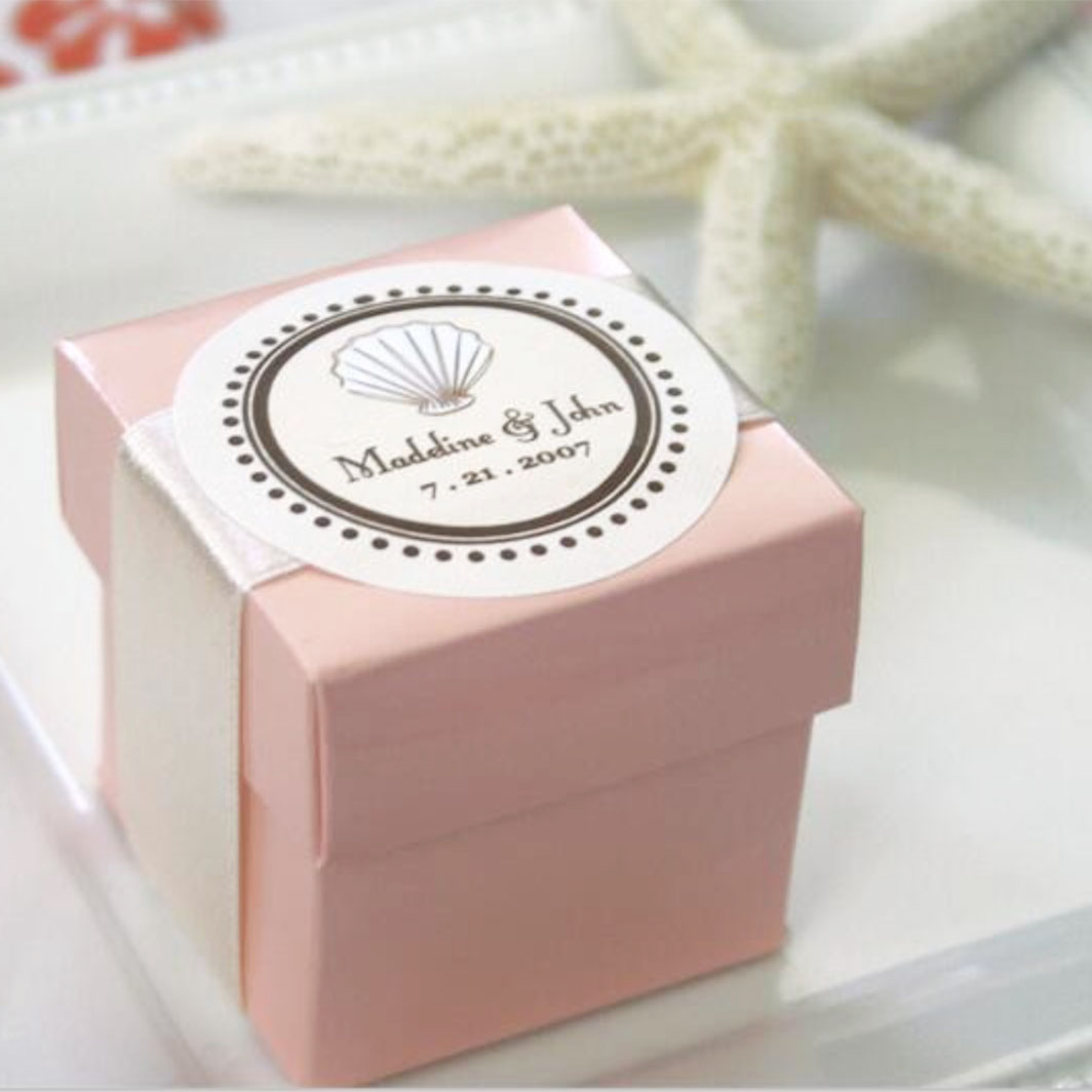 Personal handmade pink paper wedding favour box with your for Wedding favor supplies