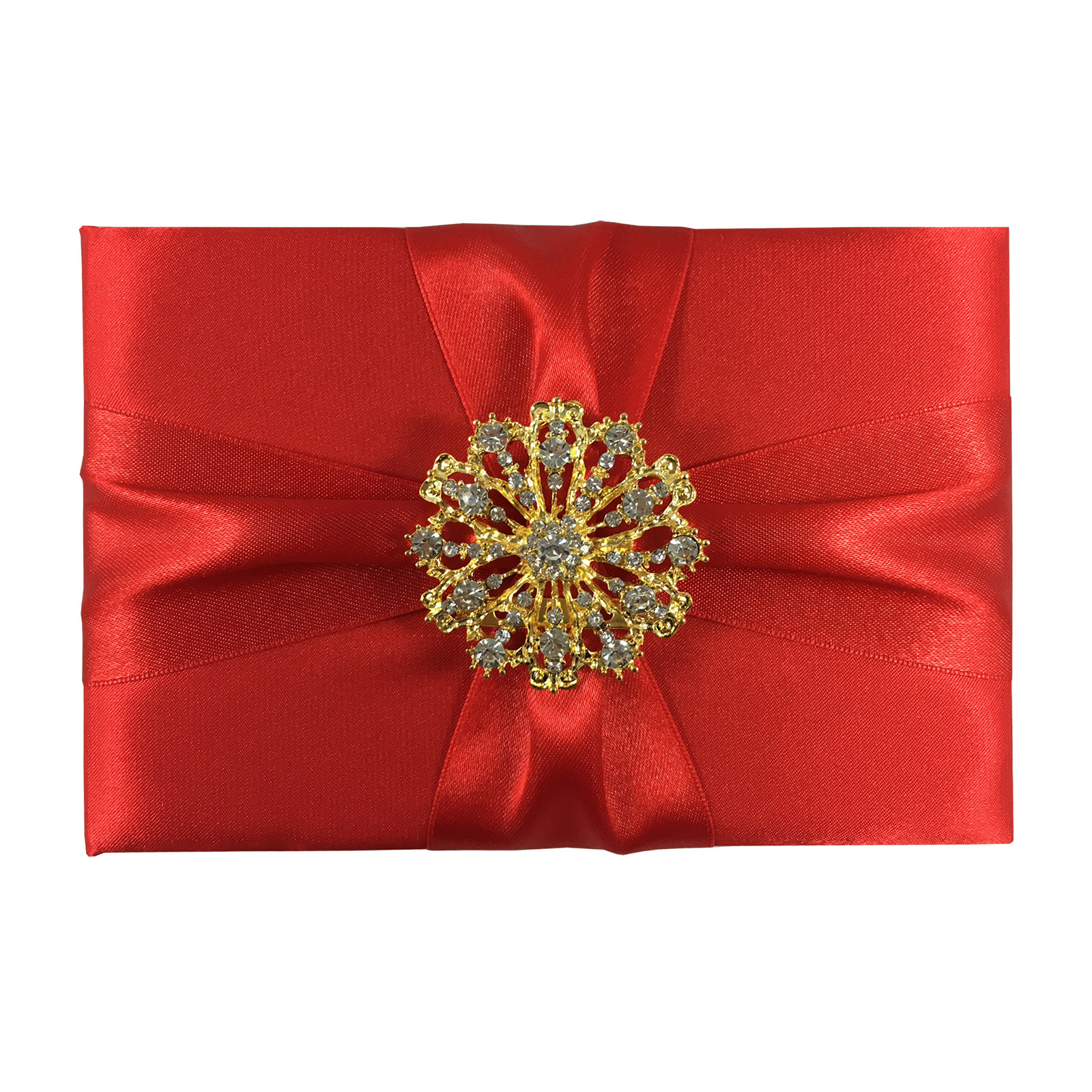 Luxury red silk folder with crystal brooch for luxury wedding and formal event invitations