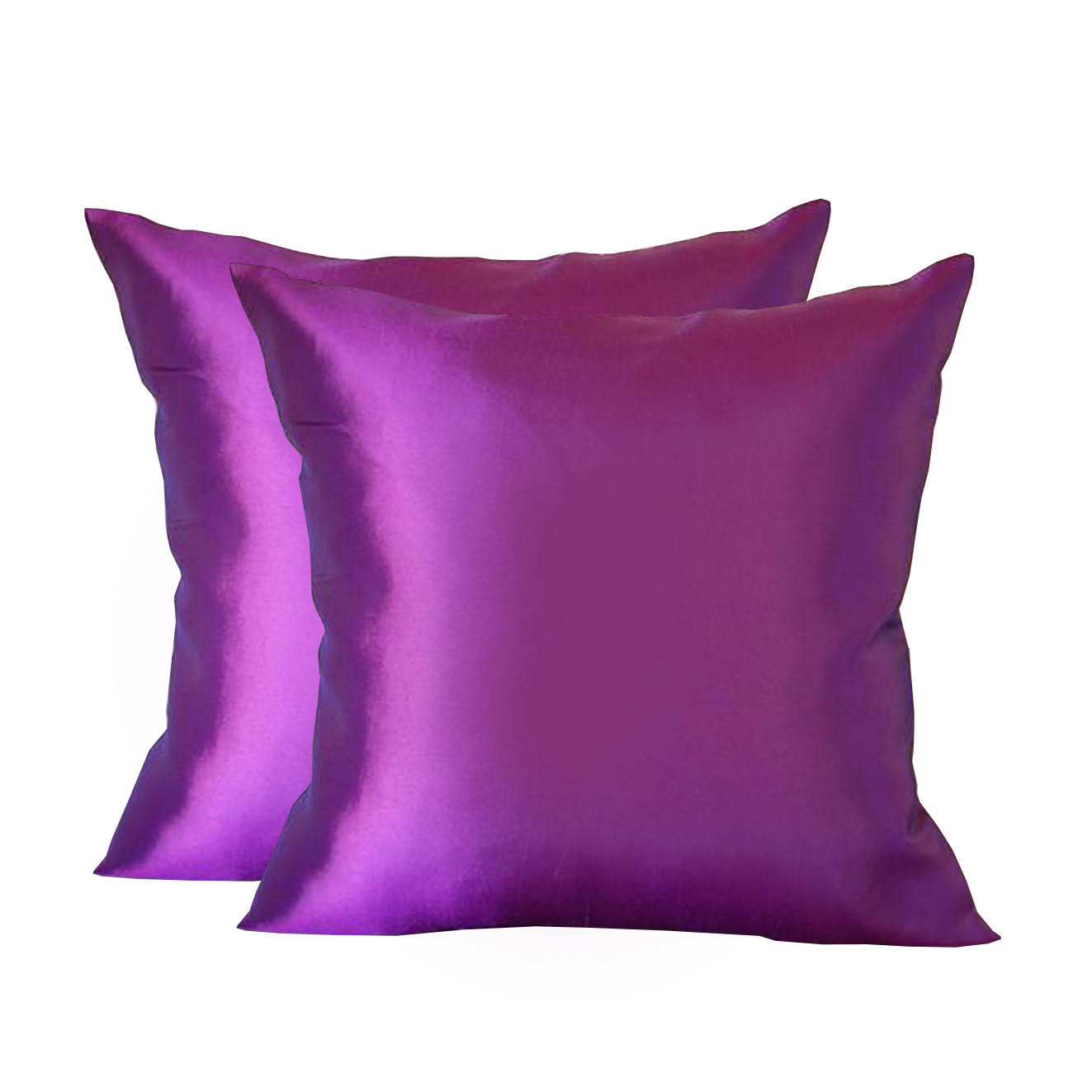 Purple taffeta silk cushion cover