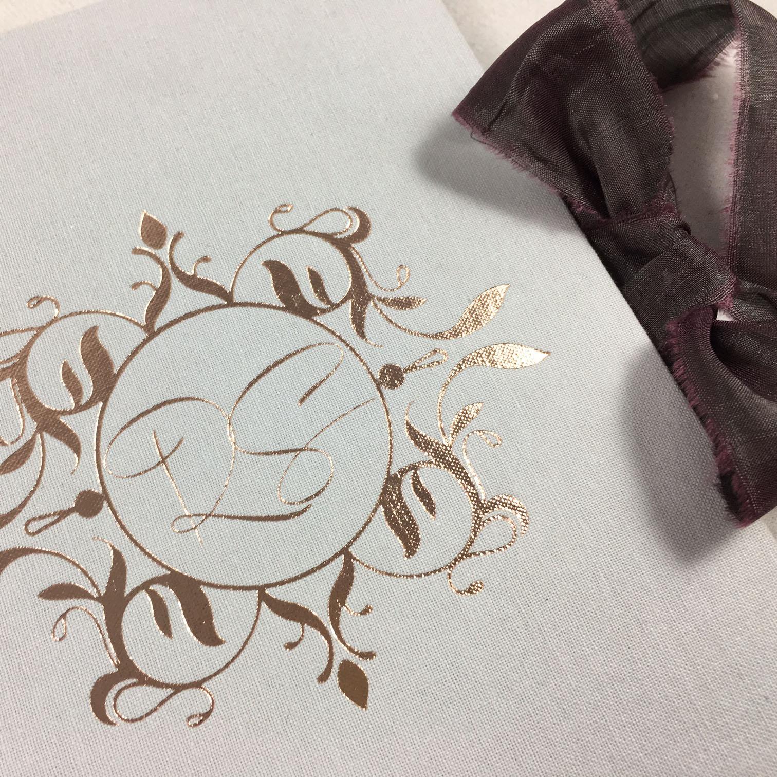 Vintage monogram linen invitations