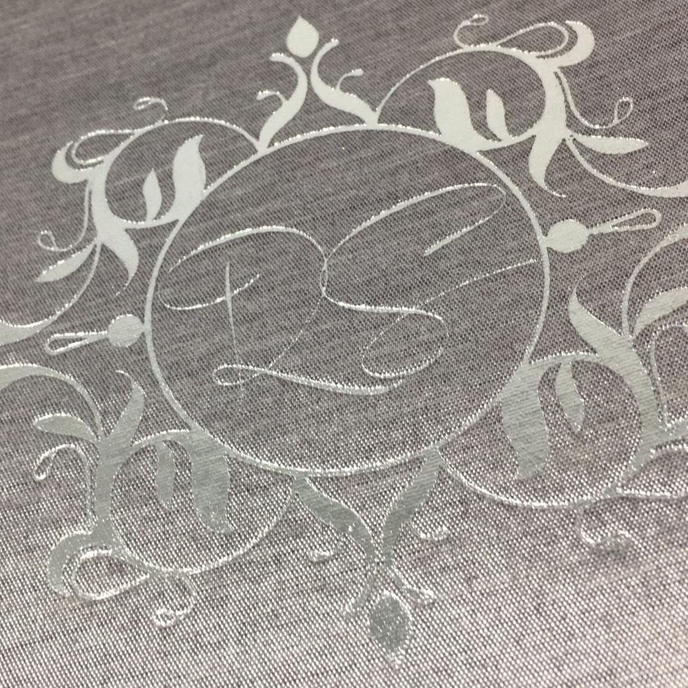 silver monogram foil stamp