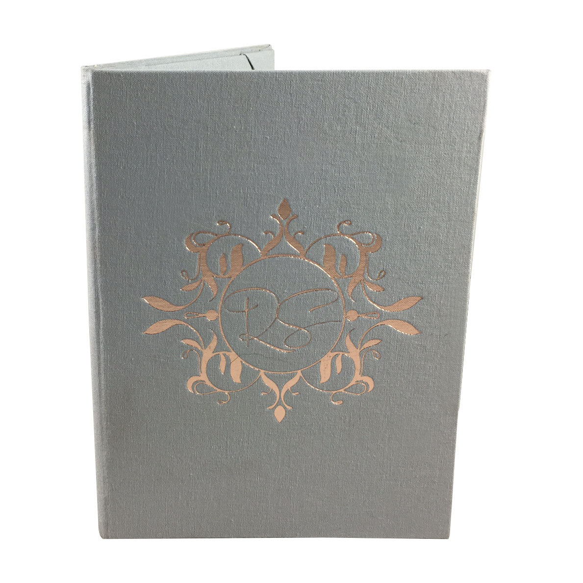 Rosegold foil stamped monogram linen wedding folder