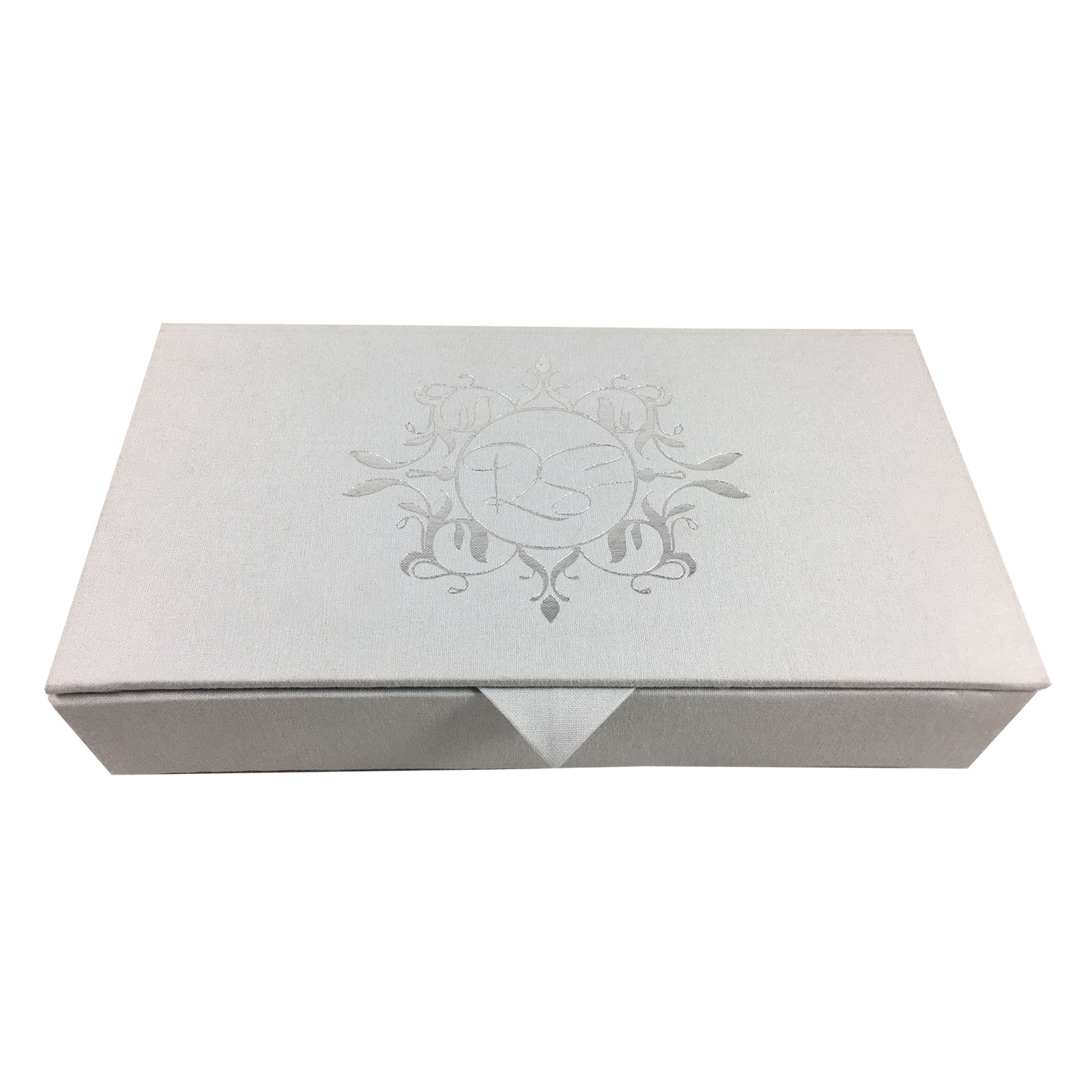 Foil stamped linen wedding box with monogram