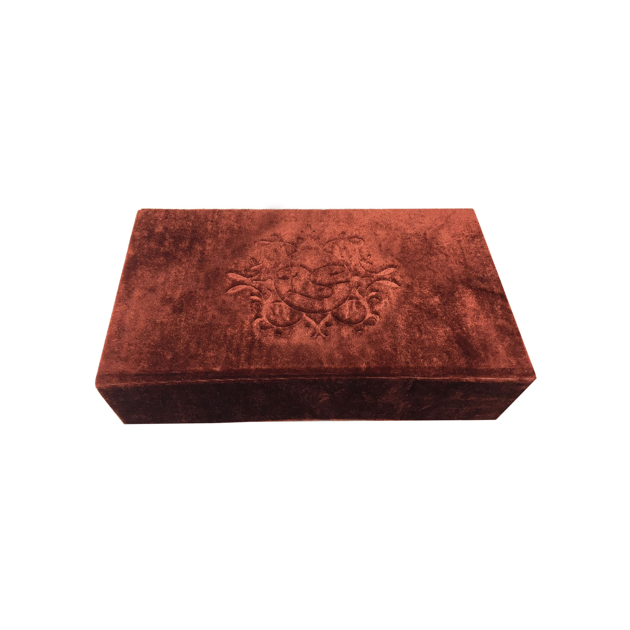 Monogram embossed velvet wedding box