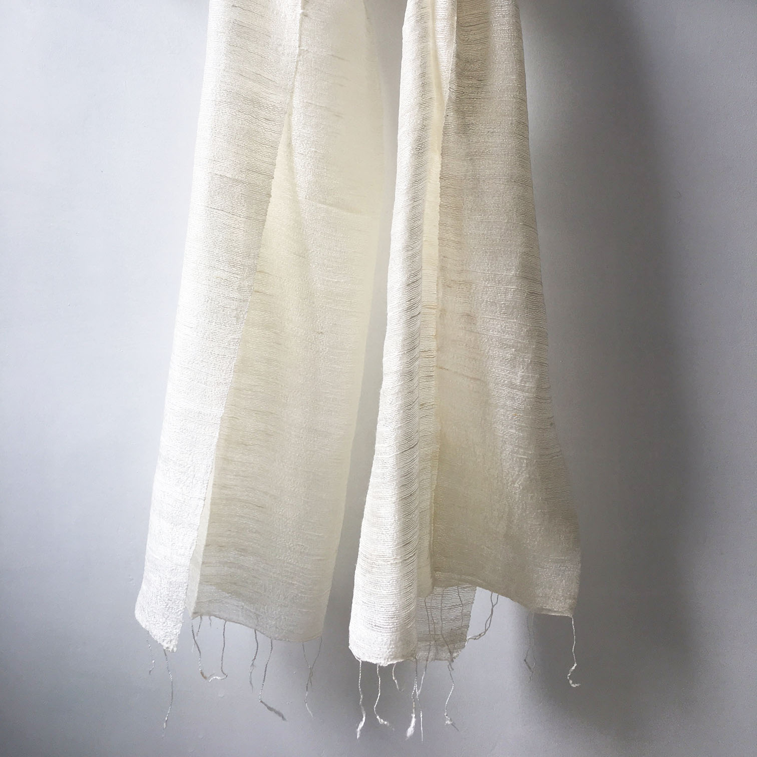off white raw silk shawl