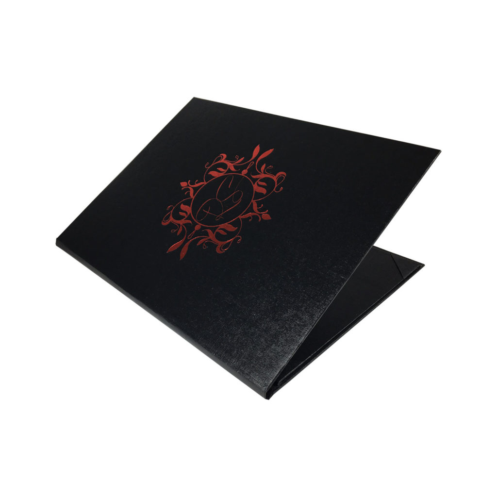Red monogram foil stamped wedding folder