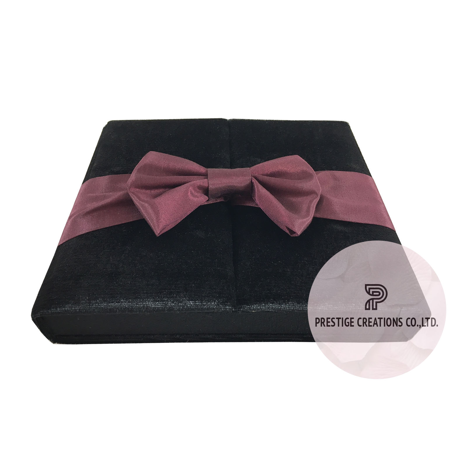 Black Velvet Wedding Box With Burgundy Silk Bow