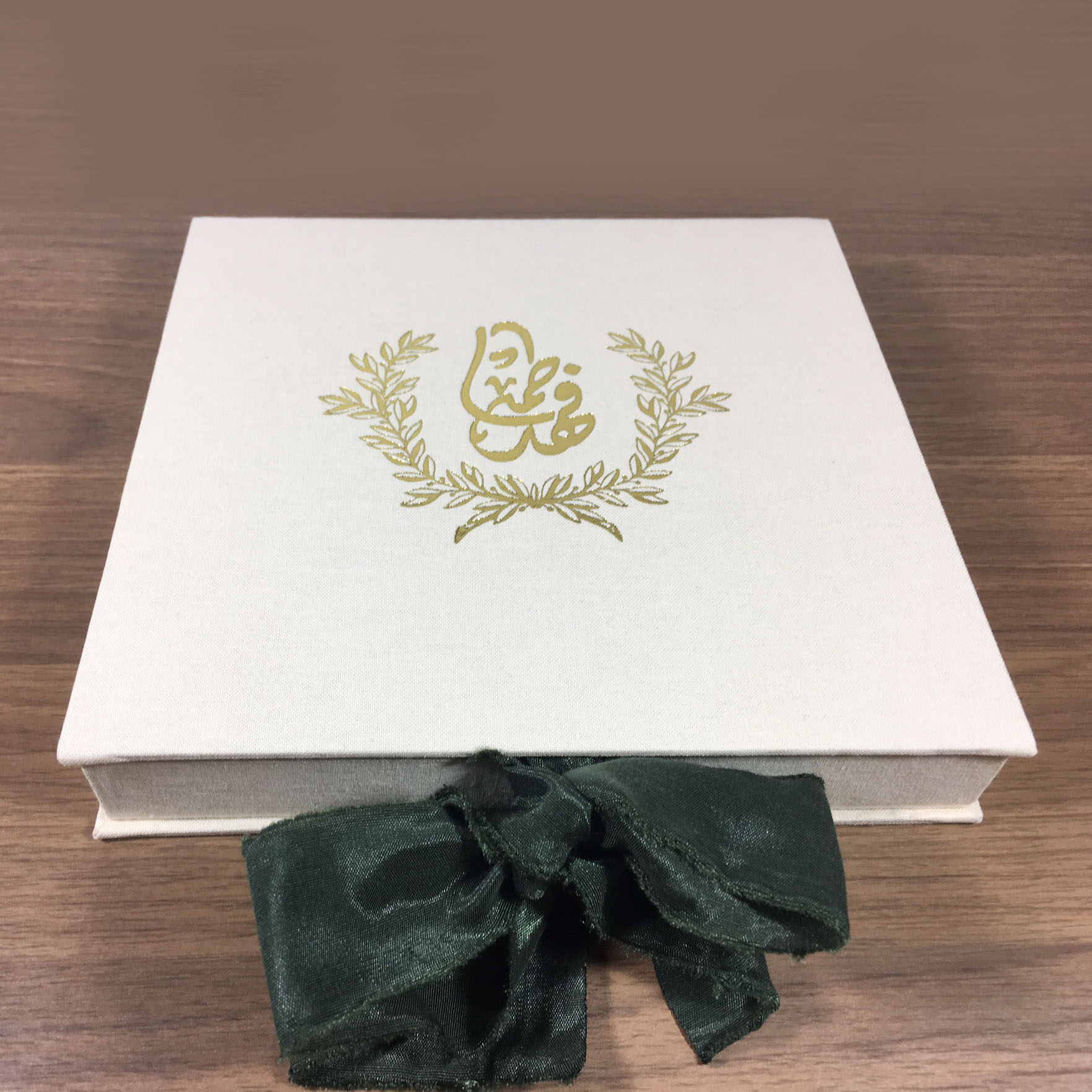 Linen covered monogram wedding box