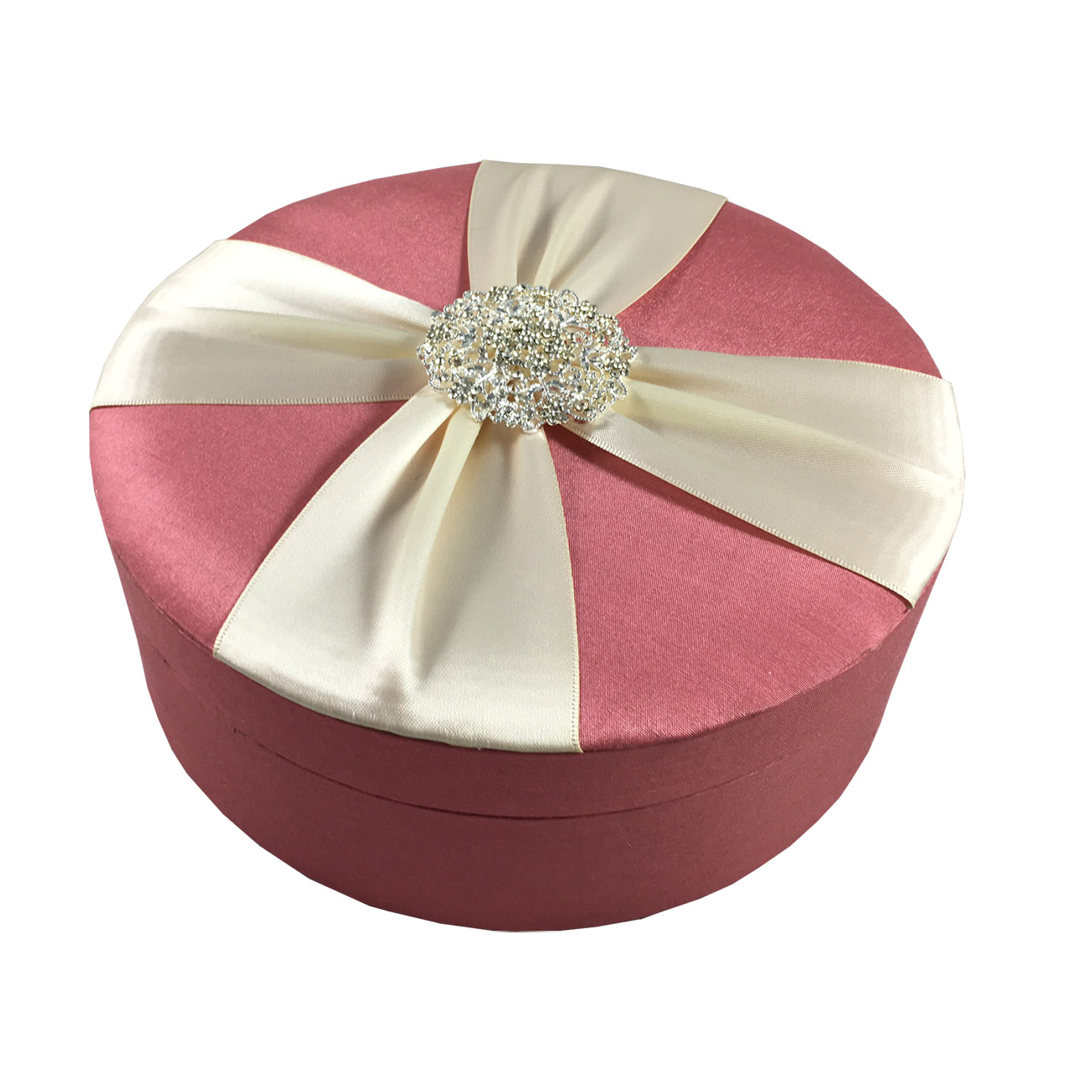 Luxury Rhinestone Brooch Embellished Coral Silk Wedding Cake Box ...