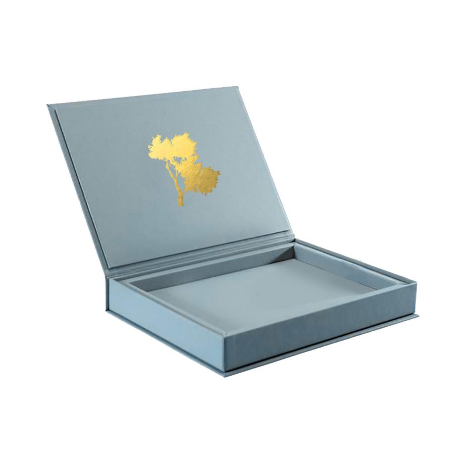 logo foil stamped linen box