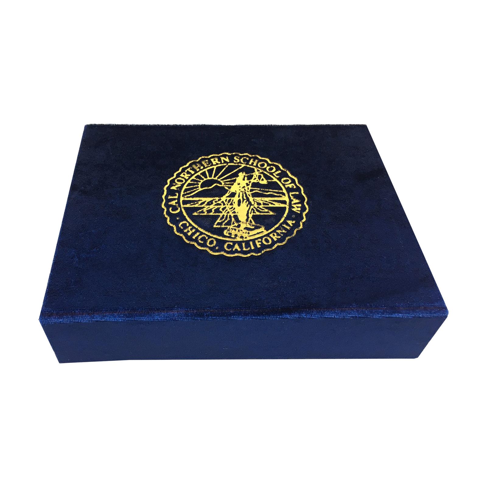 Magnetic velvet logo stamped packaging box